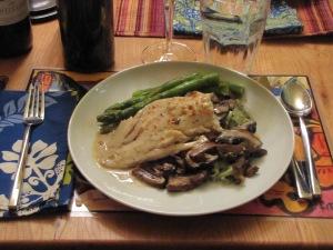 mixed mushroom marsala with cod, asparagus & fresh spinach linguine