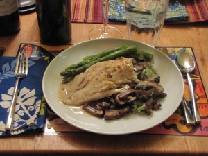 mixed mushroom marsala with cod, asparagus & fresh spinach linguine