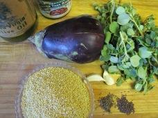 millet eggplant purslane side